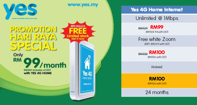 Yes 4G Home Internet Raya Promotion